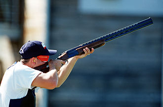 Skeet shooting - William H. Keever at the 2000 Summer Olympics (shooting the double trap discipline, not skeet)
