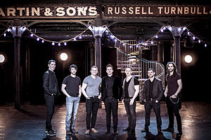 Skerryvore (band) - A photograph of the band Skerryvore shot before their Celtic Connections gig at Glasgow's Old Fruitmarket Venue 2016 by Rachel Keenan
