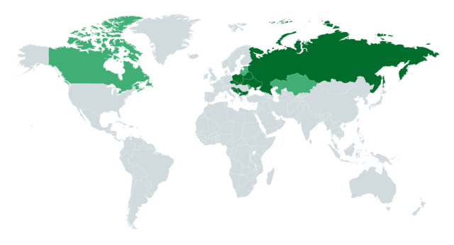 World map of countries with:   Majority Slavic ethnicities   Minority Slavic populations (≥10%)