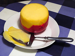 Small, spherical Edam cheese.