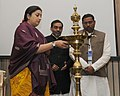 Smriti Irani lighting the lamp at the 'State Education Ministers Conference', in New Delhi. The Minister of State for Human Resource Development.jpg