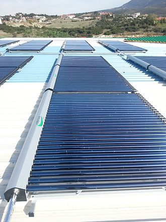 Solar thermal collector - An array of evacuated tubes collectors on a roof