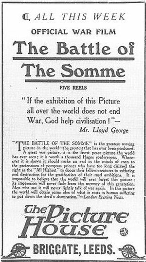 The Battle of the Somme (film) - Yorkshire Evening Post advert for the film, 1916