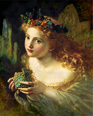 Fairy - A portrait of a fairy, by Sophie Gengembre Anderson (1869). The title of the painting is Take the Fair Face of Woman, and Gently Suspending, With Butterflies, Flowers, and Jewels Attending, Thus Your Fairy is Made of Most Beautiful Things – purportedly from a poem by Charles Ede.