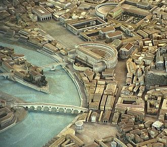 Sant'Angelo, Rome - Model of imperial Rome, 4th century AD, looking north to the southern portion of the Circus Flaminius regio. The D-shaped building in the center is the Theater of Marcellus; furthern north (near the top of the image) is the Theater of Balbus, with the Crypta Balbi to the right. The large open area in the upper left is what remains of the Circus; on its northeast side are, from left to right, the porticoes of Philippus and Octavia.