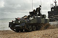 Spartan Armoured Personnel Carrier Exits Landing Craft During Amphibious Capability Demonstration MOD 45152077.jpg