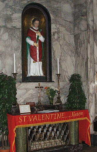 Valentine's Day - Shrine of St. Valentine in Whitefriar Street Carmelite Church in Dublin, Ireland