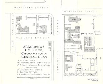 St. Andrew's College, Grahamstown - A general plan showing the layout of the school building and fields as drawn by the architectural practice of Sir Herbert Baker