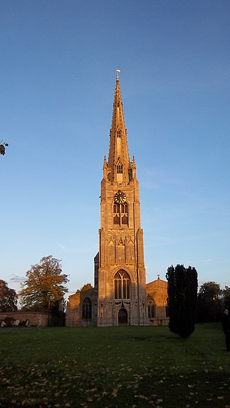 Whittlesey - The spire of St Mary's church viewed from the west