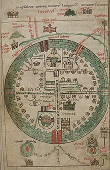 A 12th century diagram of Jerusalem in a round shape