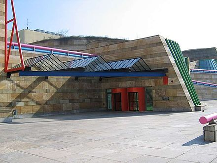 Neue Staatsgalerie (1977-84), Stuttgart, Germany, by James Stirling and Michael Wilford, showing the eclectic mix of classical architecture and colourful ironic detailing. Staatsgalerie1.jpg