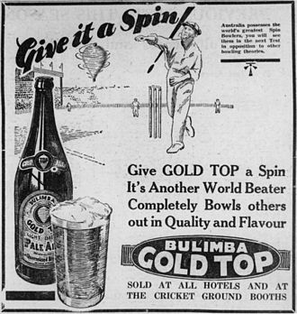 Beer in Australia - Advertisement for Bulimba Gold Top beer, Queensland, circa 1933