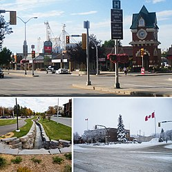 Clockwise from top: The Steinbach Millennium Clock Tower to the right in downtown Steinbach, the Steinbach Post Office during winter, and the historic Stony Brook.