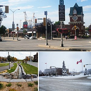 Steinbach, Manitoba - Clockwise from top: The Steinbach Millennium Clock Tower to the right in downtown Steinbach, the Steinbach Post Office during Winter, and the historic Stony Brook.