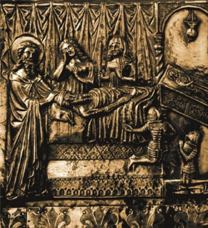 Vuk, Ban of Bosnia - Vuk with his brother, mother and cousin Elizabeth at the deathbed of his uncle Stephen, as depicted on Chest of Saint Simeon, dated 1380. According to another interpretation, both boy figures represent Tvrtko.