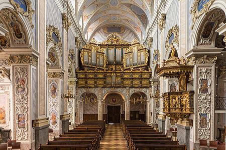 Nave and organ of Göttweig Abbey Church, Lower Austria. Baroque case of the organ by Ignaz Gatto 1761.