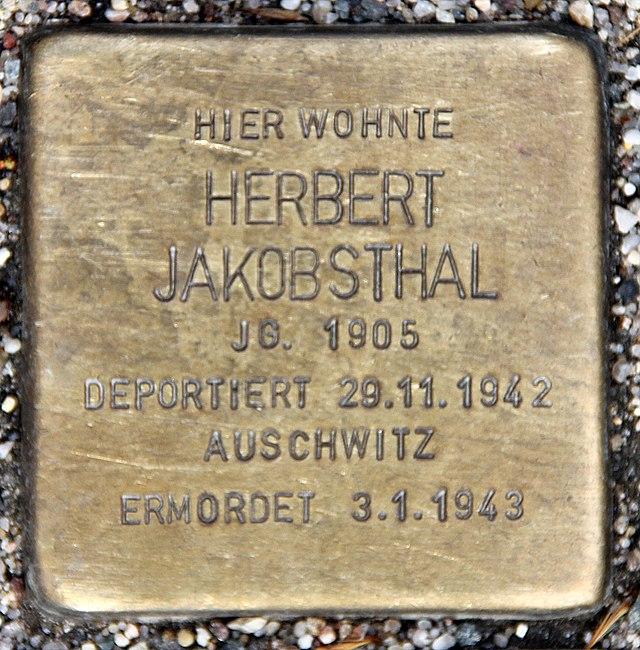Photo of Herbert Jakobsthal brass plaque