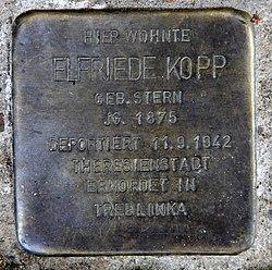 Photo of Elfriede Kopp brass plaque