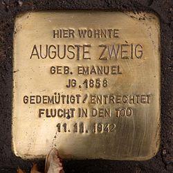 Photo of Auguste Zweig brass plaque