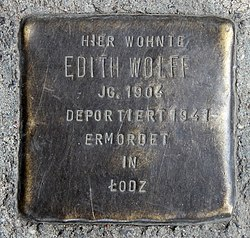 Photo of Edith Wolff brass plaque