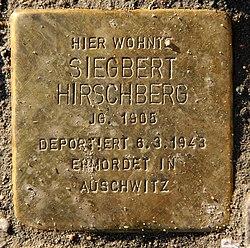 Photo of Siegbert Hirschberg brass plaque