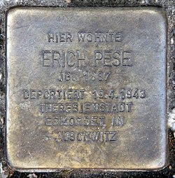 Photo of Erich Pese brass plaque