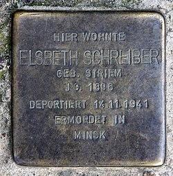 Photo of Elsbeth Schreiber brass plaque