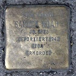 Photo of Samuel Noah brass plaque
