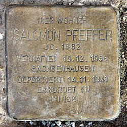 Photo of Salomon Pfeffer brass plaque