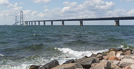 Great Belt Fixed Link, The East Bridge as seen from Zealand Storebæltsforbindelsen højbroen.jpg