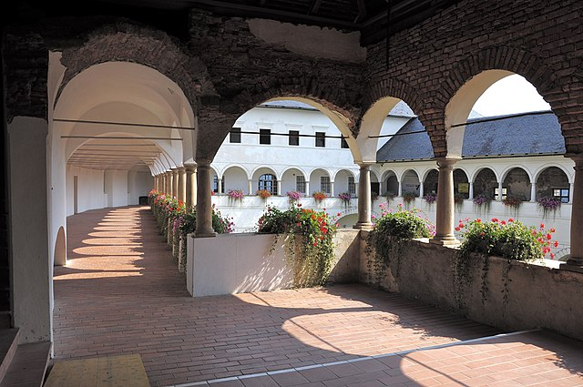 Arcade yard of the bishop`s castle in the city Strassburg, district Sankt Veit an der Glan