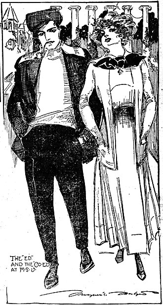 1910s in Western fashion - In 1910, journalist Marguerite Martyn visited the Missouri state university campus in Columbia and sketched these two fashionable students.