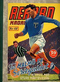 Sture Mårtensson MFF på omslaget af Rekordmagasinet, november 1944.