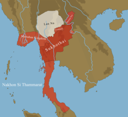 Greatest extent of the Sukhothai Kingdom, 1292.