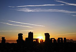 The sun rising over Stonehenge on the summer solstice on 21 June 2005