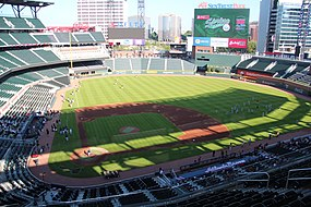 SunTrust Park viewed from upper decks behind home plate, May 2017.jpg
