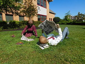 Cherry Hill Public Library - Sunday Morning, by Seward Johnson at the Cherry Hill Public Library