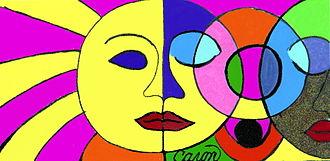 SoFlo Superflat - Sunshine and Moon Caron Bowman, 40x60, Pastel, Example of SoFlo Superflat art