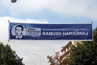 Ramush Haradinaj - Banner to show support for Haradinaj in the streets of Prishtina. September 2010
