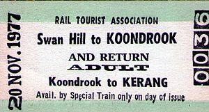 Piangil railway line - Swan Hill-Koondrook rail ticket 1977
