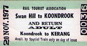 Kerang–Koondrook Tramway - Swan Hill-Koondrook rail ticket 1977