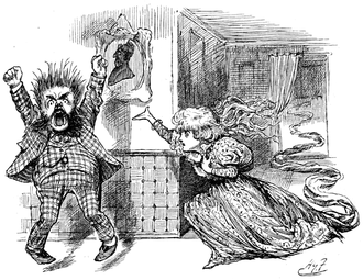 "Tottles - ""'Never!' yelled Tottles"". Illustration by Harry Furniss (1854–1925) for Beyond these Voices, Chapter 16 of Sylvie and Bruno Concluded (1893)."
