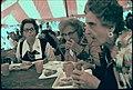 THREE MEMBERS OF A GERMAN GROUP FROM SAVANNAH, GEORGIA EAT WURST, SAUERKRAUT, PRETZELS AND DRINK SOFT DRINKS IN A... - NARA - 557795.jpg