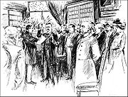 Nashville Tennessee News sketch of Theodore Roosevelt inauguration minus the customary Bible. Inauguration photos were not allowed after a rival photographer unceremoniously knocked down another's camera.
