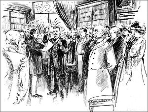 First inauguration of Theodore Roosevelt - Roosevelt being administered the oath of office as President after President McKinley's death, September 14, 1901.