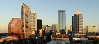 Downtown Tampa - View of downtown to north, from the Embassy Terrace Hotel, at sunrise