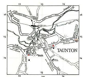 Taunton - A road map of Taunton from 1948