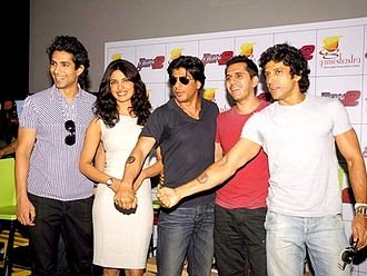 Don 2 - (from left) Shroff, Chopra, Khan, Sidhwani and Akhtar at promotional event for Don 2 in Mumbai