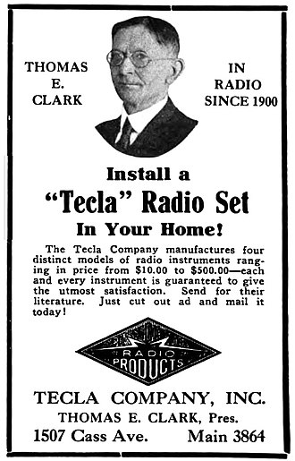 WWJ (AM) - Radio pioneer Thomas E. Clark provided technical advice during the planning stages (1922 advertisement)