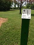 Tee for hole 9 at Lochness Park disc golf course.JPG